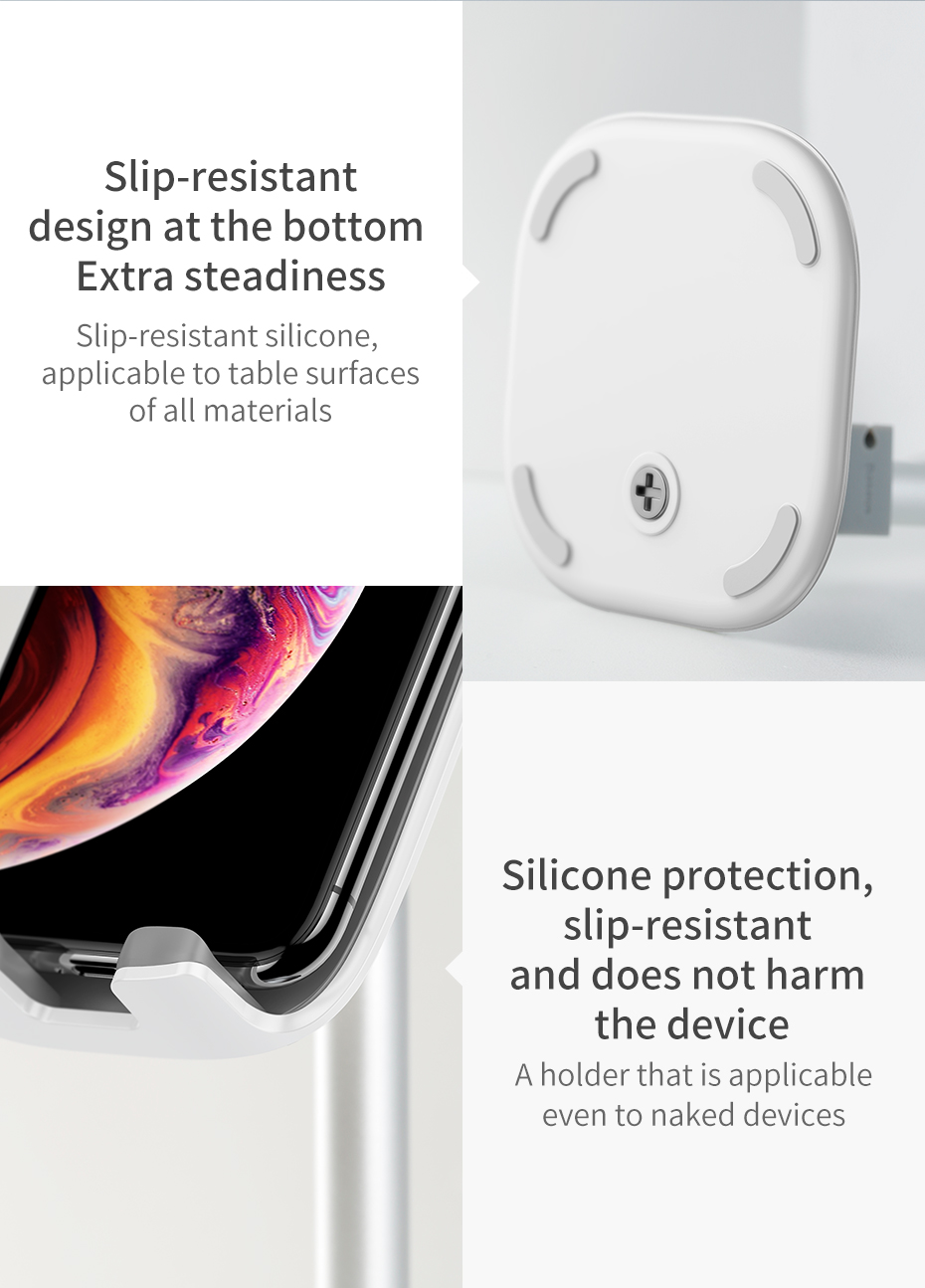 Baseus Mobile Phone Holder For iPhone XS Max iPad Non-slip Adjustable Metal Desktop Phone Stand For Samsung Xiaomi Huawei Tablet 13
