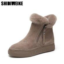 الشتاء الأحذية حذاء الثلج عالي الرقبة دافئ جلد الغزال أحذية حريمي برقبة 2020 حجم كبير أسافين عدم الانزلاق النساء الأحذية A045