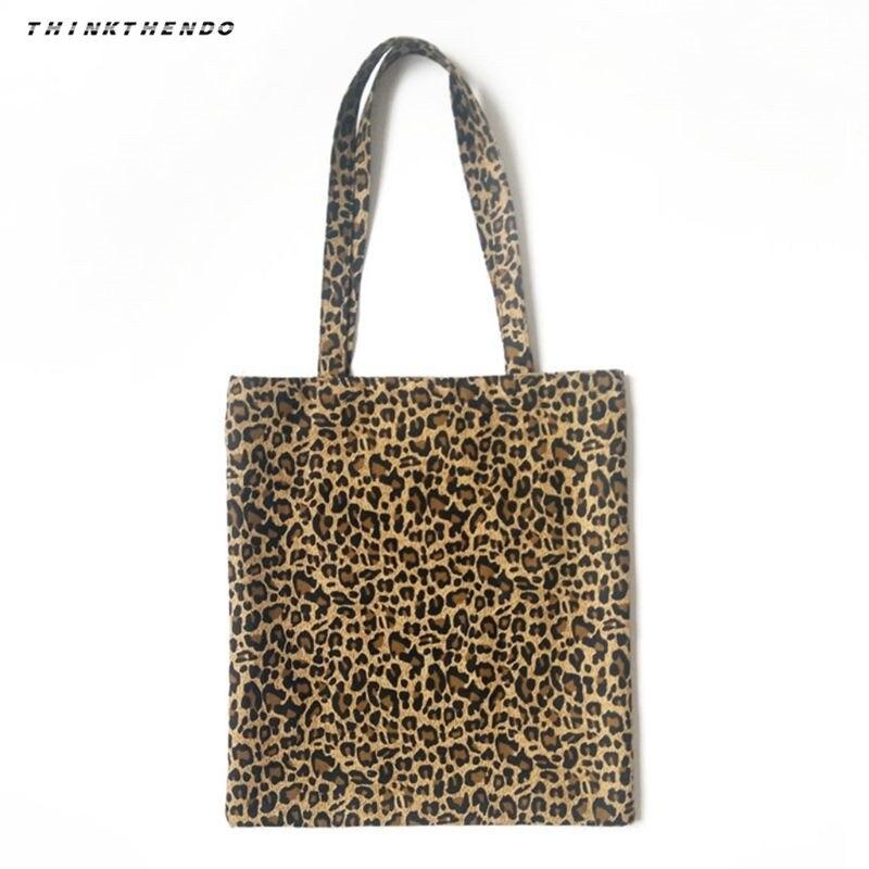 THINKTHENDO Fashion Women Canvas Shoulder Bag Messenger Girls Female Leopard Print Hobo Purse Satchel Shopping Tote Handbag New