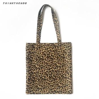 THINKTHENDO Fashion Women Canvas Shoulder Bag Messenger Girls Female Leopard Print Hobo Purse Satchel Shopping Tote Handbag New casual women s tote bag with leopard print and canvas design