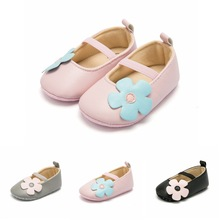 Hot Sale Spring / Autumn Baby Girl Shoes Flower Toddler PU Girls First Walkers Moccasins Pink Black Gray