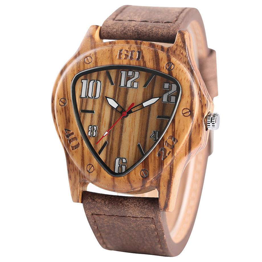 genuine leather band pink buckle quartz zebra wood watches02