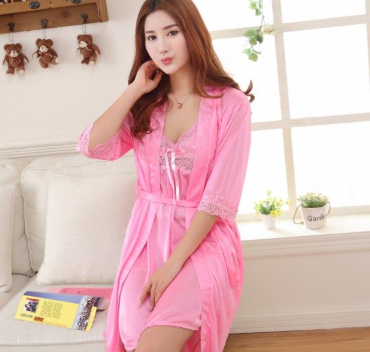 Faux silk 2 Piece Robe Sets for women Nightwear Satin Pajamas For Women  Pyjama Femme Sexy Nightgown Robe Set Kimono Sleepwear-in Robe   Gown Sets  from ... faf532501
