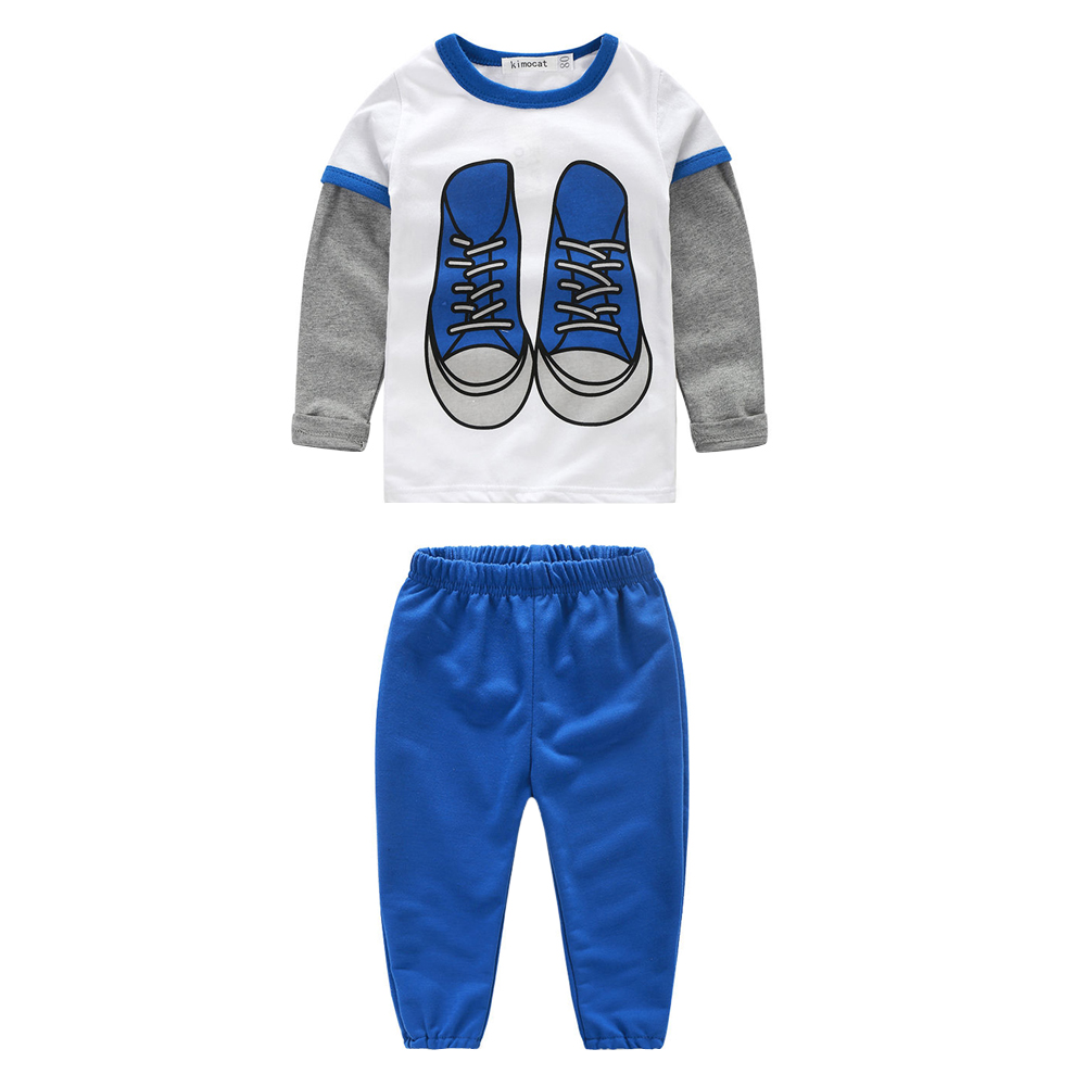 Autumn Baby Boy Clothes Set Sports Shoes Printed Long sleeve Top + Pants 2pcs Sport Suit Baby Clothing Sets Newborn Clothes 9 12m baby boy set monkey print clothes for children newborn baby boy clothing corduroy 2017 autumn clothes 2pcs boy outwears