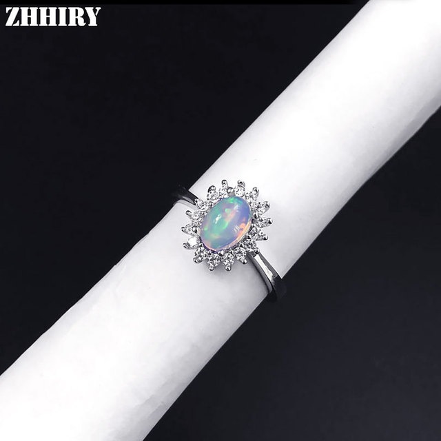 ZHHIRY For Woman Genuine Natural Fire Opal Ring 925 Sterling Silver Rings Color Gemstone Fine Jewelry