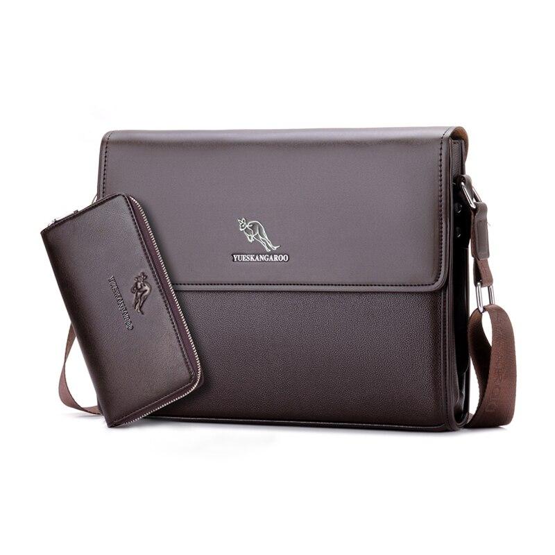 Image 2 - YUES KANGAROO Brand Leather Men Bag Business Shoulder Bag Casual  Mens Crossbody Messenger Bag For A4 document Briefcase bolsabrands  leather man bagleather man bagsmens crossbody messenger bag -