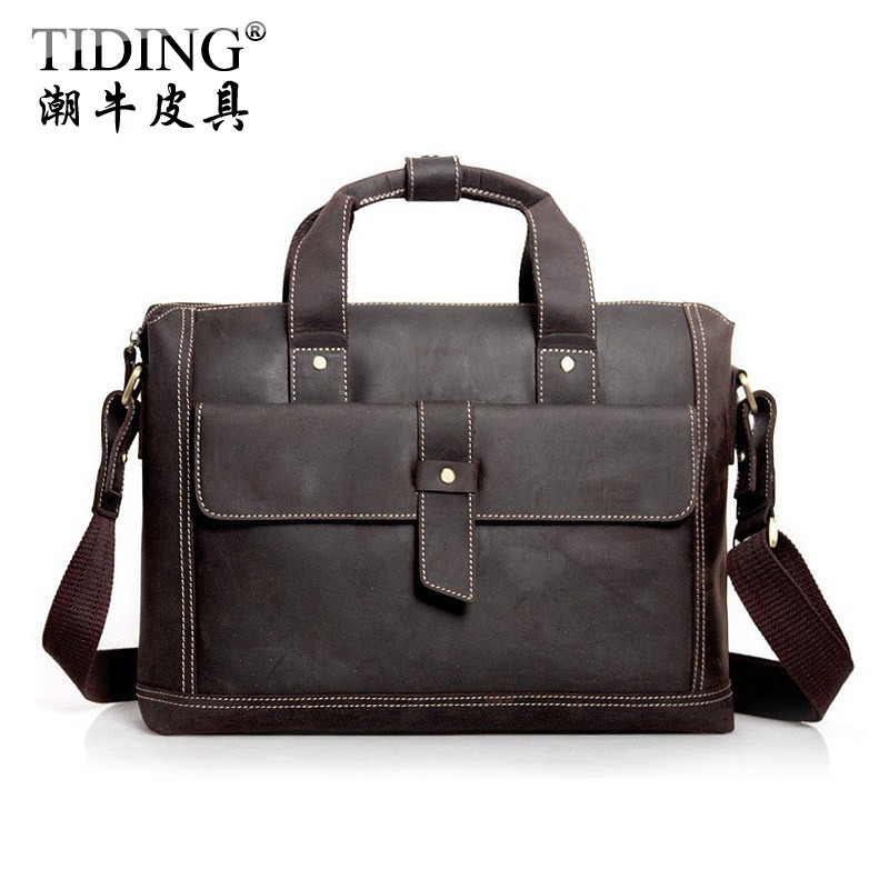 High Quality  male cowhide genuine leather   cross-body Laptop Tote commercial  vintage briefcase 1020