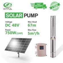 4 «DC глубокий скважинный Солнечный водяной насос 48 В 1HP скважины MPPT контроллер из нержавеющей стали крыльчатка скважина солнечная мощность высокого давления