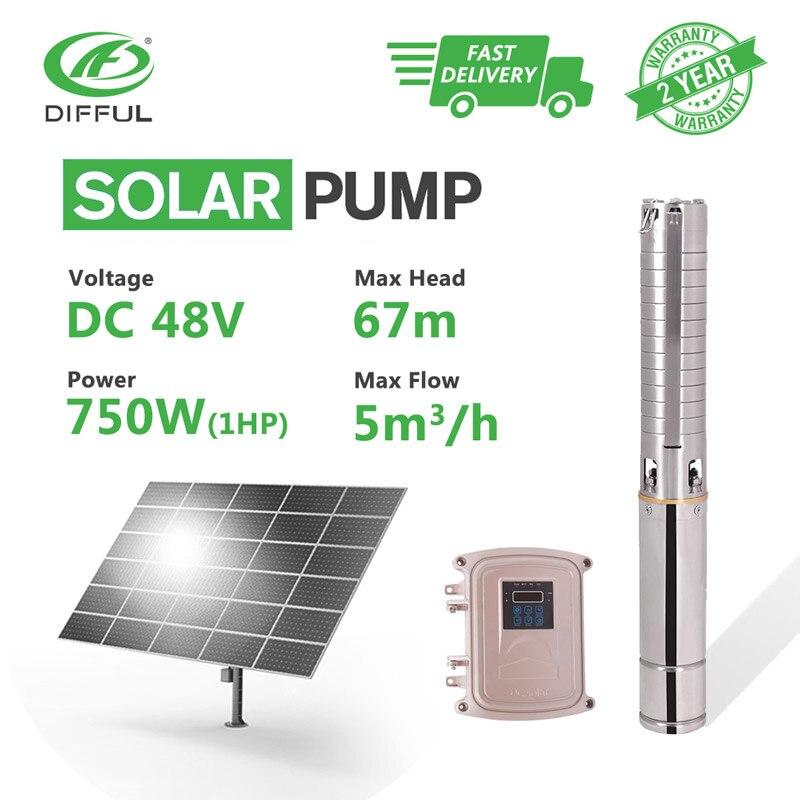 4 DC puits profond solaire pompe à eau 48 V 1HP forage MPPT contrôleur en acier inoxydable roue de forage forage soleil puissance haute pression