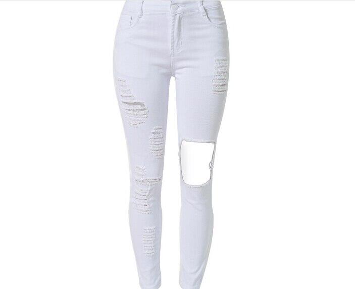 Plus Size Women White High Waist Distressed Long Denim Jeans Pants ...