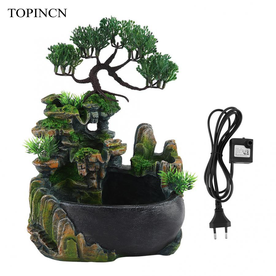 Home-Decoration Meditation-Waterfall Fountain-Zen Color-Changing Desktop Resin Led-Lighting title=