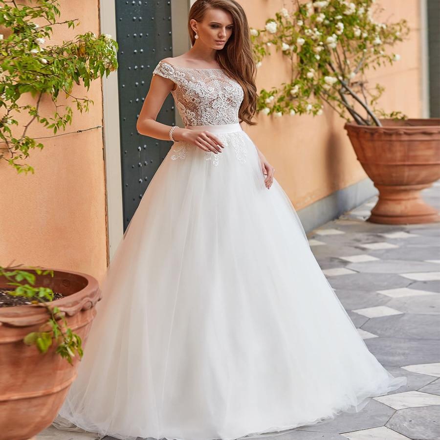Weilinsha Scoop Neck Sleeveless Lace Applique Wedding Dresses Illusion Back Robe De Mariage Ball Gown Wedding Dress