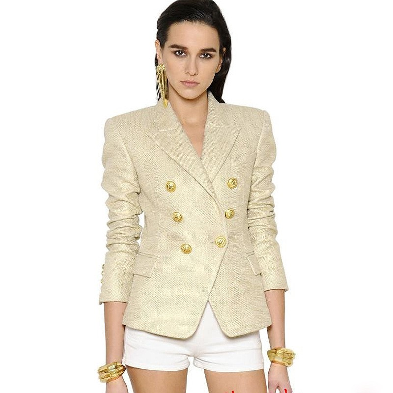 2018 Euramerican Spring New Fashion Polyester Full Sleeve Solid Color Elegant Slim Fit Notched Gold Double Button Quality Blazer