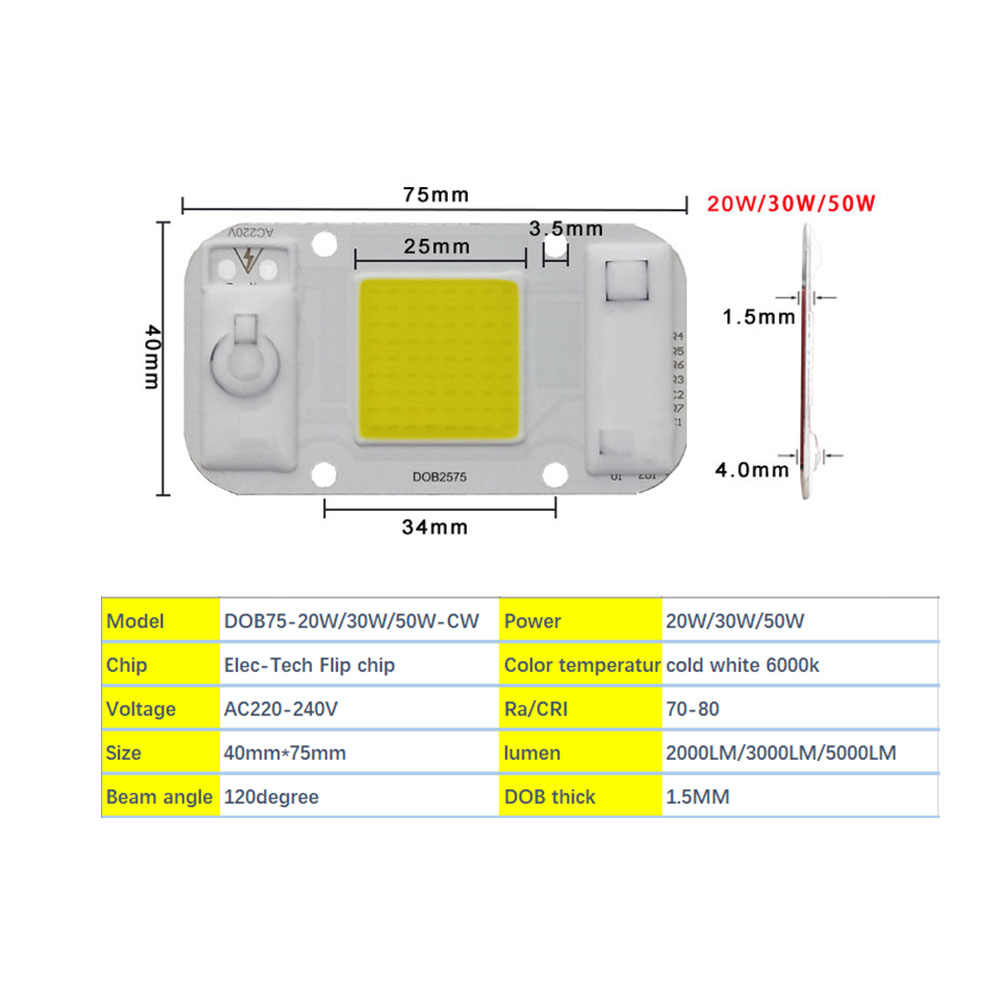HANGYUE AC220V LED 20W 30W 50W DIY Driverless DOB module chipsi Smart IC Driverless Fit For DIY Flood Light LED Spotlight