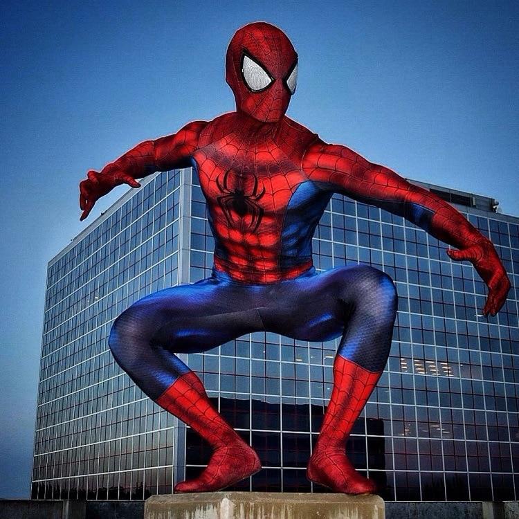 Hot Sale Custom 3D Print Spiderman Superhero Cosplay Costume Spandex Spiderman Costumes for Halloween