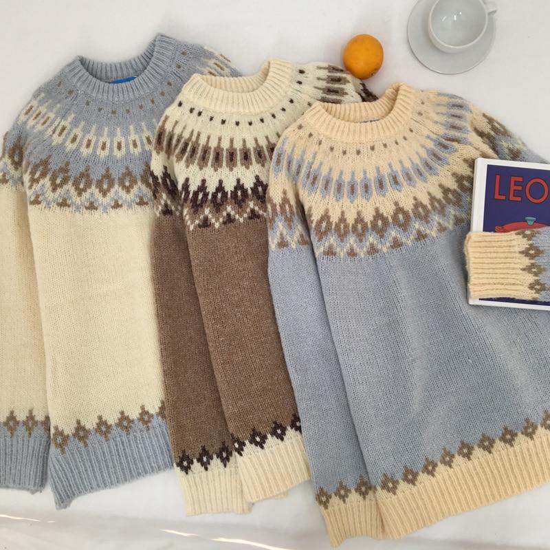 Cardigan Women Harajuku Vintage Geometric Knitted Sweater Coat