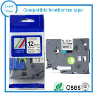 Strong adhesive Laminated tze label tape 12mm black on white tze s231 TZ s231 compatible label tapes for brother label machine