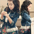 Girls Denim Coat Net Patchwork 100% Cotton Fashion Kids Jacket Long sleeve Cute Children Jeans Free Shipping
