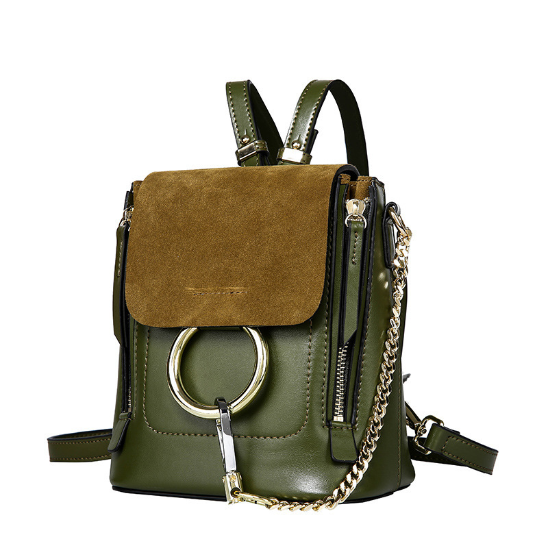 Olive Green Genuine Leather Retro Ring Lock Double Zipper Backpack Flexible Versatile Package Inclined Shoulder Bag Chain Rope