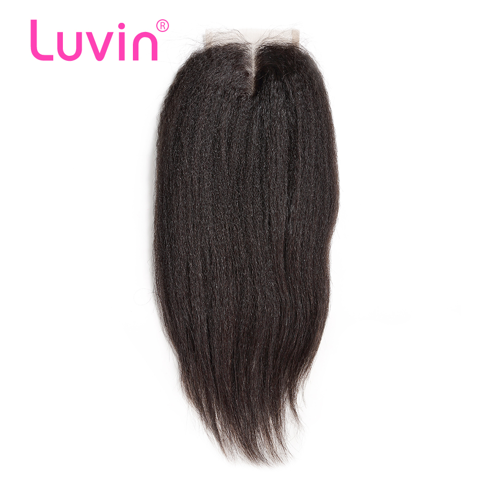 Luvin Brazilian Kinky Straight Hair Lace Closure 4x4 Bleached Knot With Baby Hair Middle Part 100