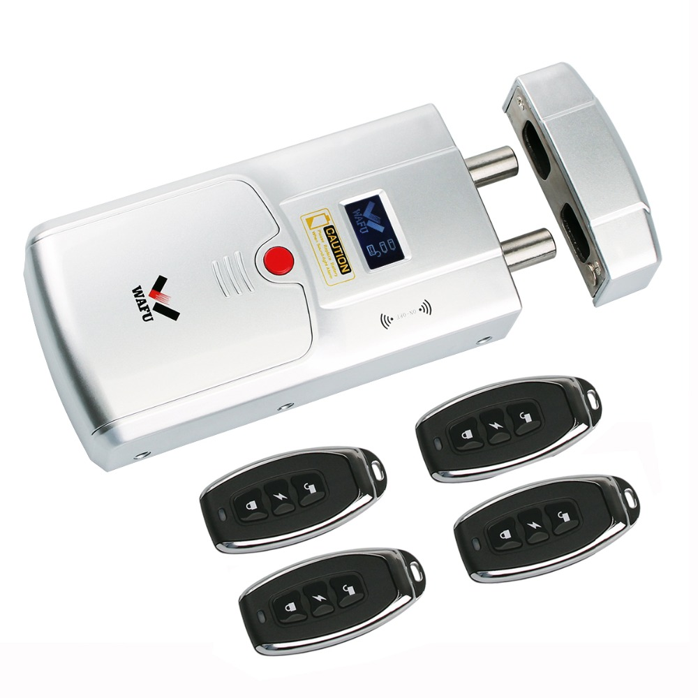 Security Keyless Smart Remote Door Lock Wireless Invisible Anti theft Lock with 4 Remote Keys F1440
