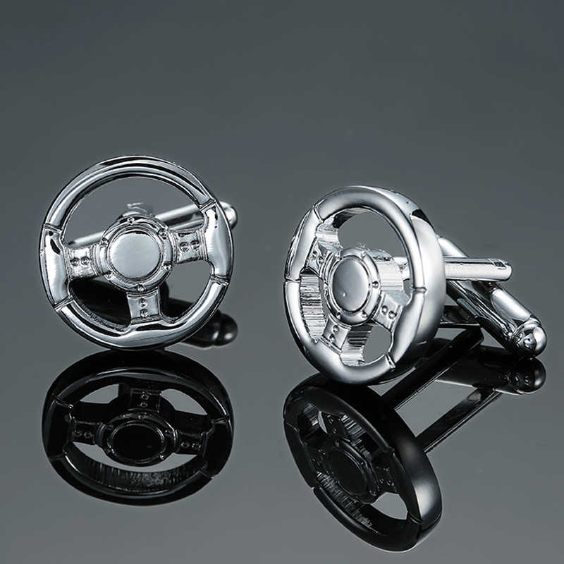 DY Silver direction luxury car brand new quality brass wheel Cufflinks Men's French shirt Cufflinks free shipping