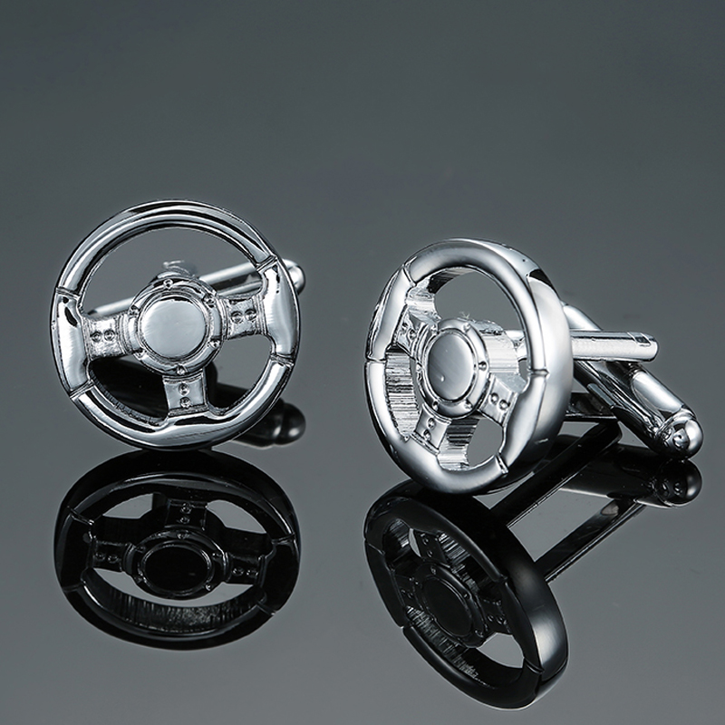 DY Silver direction luxury car brand new quality brass wheel Cufflinks Mens French shirt Cufflinks free shipping