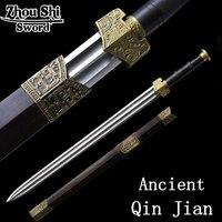 Аутентичный китайский Цинь Цзянь Ручной Ковки Дамасской Стали меч ремесло длинный раздел домашний декор