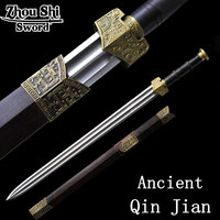 Authentic Chinese Qin Jian hand-forged Damascus steel sword craft long section home decor
