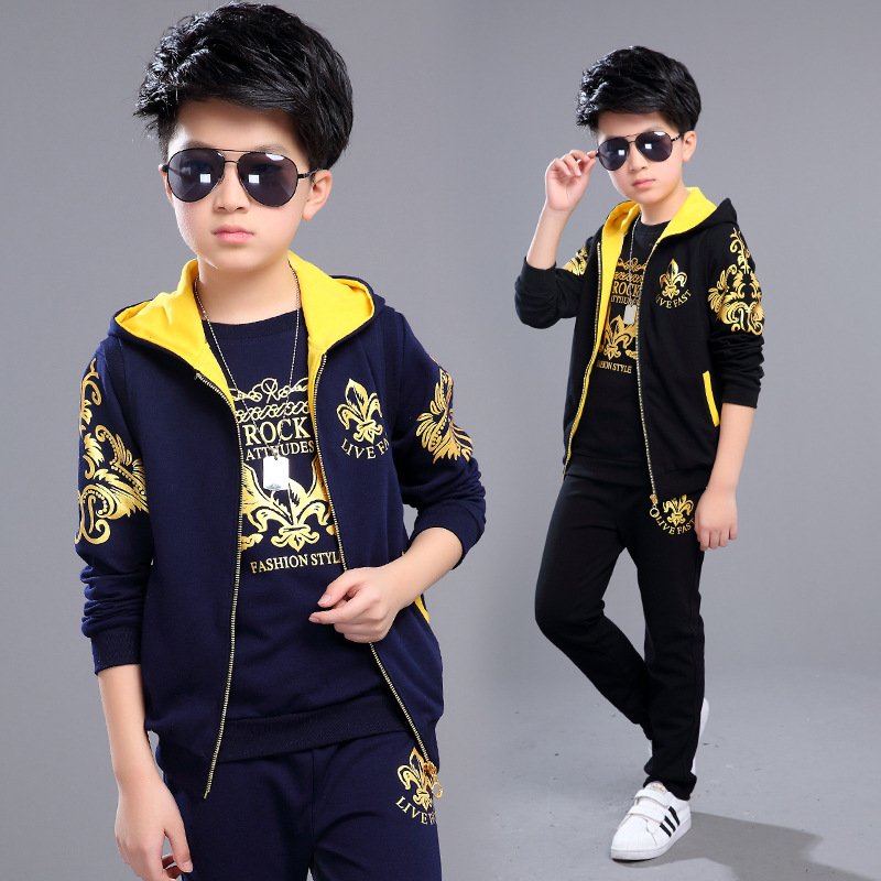 Boys Clothing Set 3pcs For Big Kids Hooded Vest Jacket T-shirt Pant Clothes Suit Children's Sports Suit Boys Child 3-12Years O