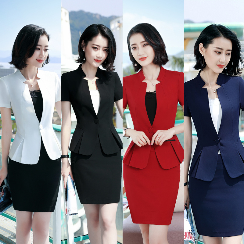 2019 New fashion Business skirt suit women summer formal Short Sleeve blazer and skirt office ladies plus size 4XL uniforms