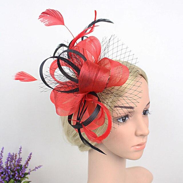 Paris Royal Lady Wedding Headdress Classic Red Purple Blue Feather  Fascinator Clip Show Party Women Fancy Hair Clip Accessories 0001494beb2