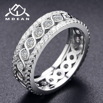 MDEAN White Gold Color Round Rings for Women Engagement Wedding Clear AAA Zircon Jewelry Bague Bijoux Size 6 7 8 9 10 H517