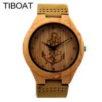 TIBOAT Lost Sea Anchors Design Bamboo Watches Japan Quartz Wooden Wristwatches Genuine Leather Men Women Luxulry