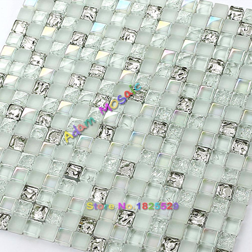 Transparent White Glass Mosaic Tiles Silver Backsplash Kitchen ...