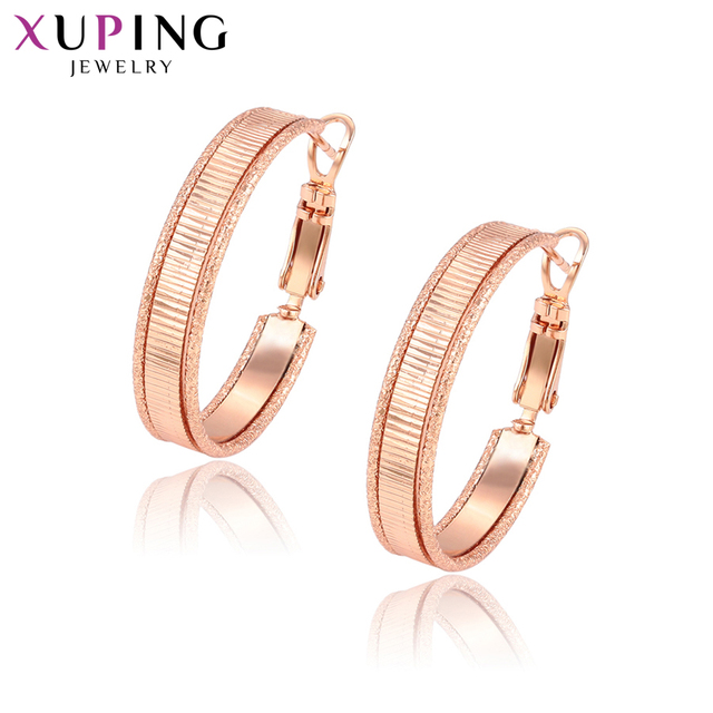 Xuping Elegant Simple Earrings Hoops Rose Gold Color Plated for Women Girls Jewelry Thanksgiving Gifts S83,2-95429