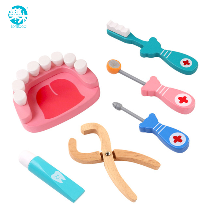 Logwood Wooden toys Funny play Real Life Cosplay Doctor game toy Dental Pretend Doctor accessories Tools 6PCS Set For Children