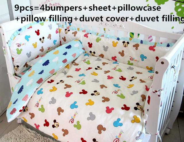 ¡ Promoción! 6/7/9 unids cuna juegos de cama Cuna Cuna del Lecho del bebé ropa de cama, 120*60/120*70 cm