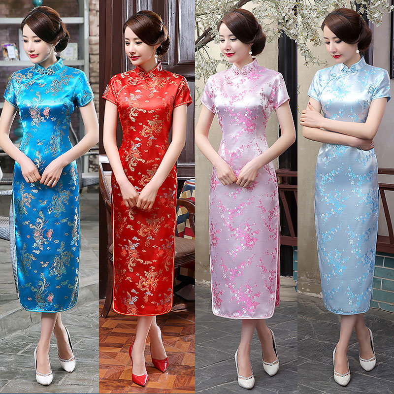 S-5XL Plus Size Large Retro Women Chinese Dragon Phoenix Long Silk Cheongsam Cheongsams Dress Qipao for Women Lady