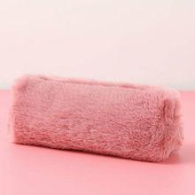 Для женщин девушки милые Плюшевые Пушистые Пенал Макияж сумка-монетница сумочка со змейкой сумка Черный, серый цвет розовый, цвет: хаки/красный