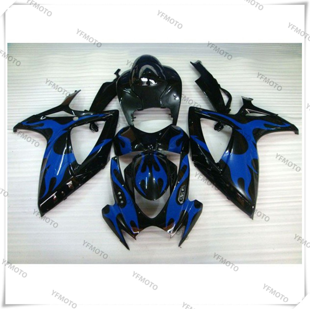 Motorcycle ABS Blue Fire Fairing Body Work  Cowling For SUZUKI GSXR600-750 GSXR 600 750 K6 2006-2007 +4 Gift new motorcycle ram air intake tube duct for suzuki gsxr600 gsxr750 2006 2007 k6 abs plastic black