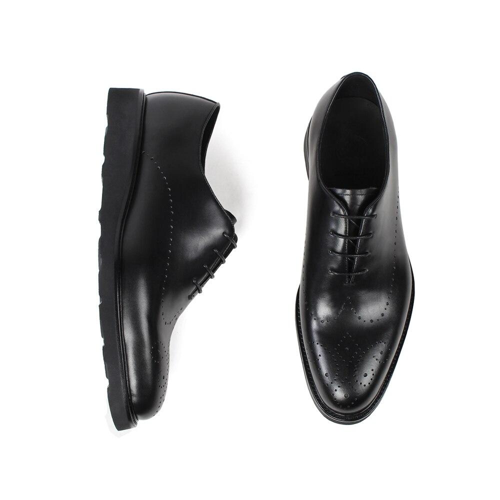 Vikeduo Echtes Schwarz Männlichen Turnschuhe Hochzeit Schuh Schuhe Business Leder Kuh Formale Kleid Black Männer Brogue Zapatos Büro UUHPwr