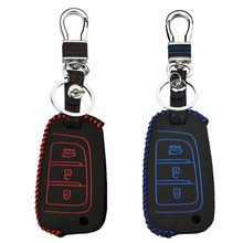 Car Key Case Cover For Hyundai Elantra Solaris KONA Kauai Encino 2017 2018 2019 I30 Ix35 Remote Key Shell keychain(China)