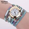 Irisshine Y5896 mujeres regalo del reloj de señora girl marca Duoya Nueva Flor Popular Reloj de Pulsera de Cuarzo Vestido de Las Mujeres de lujo de la Piedra Preciosa