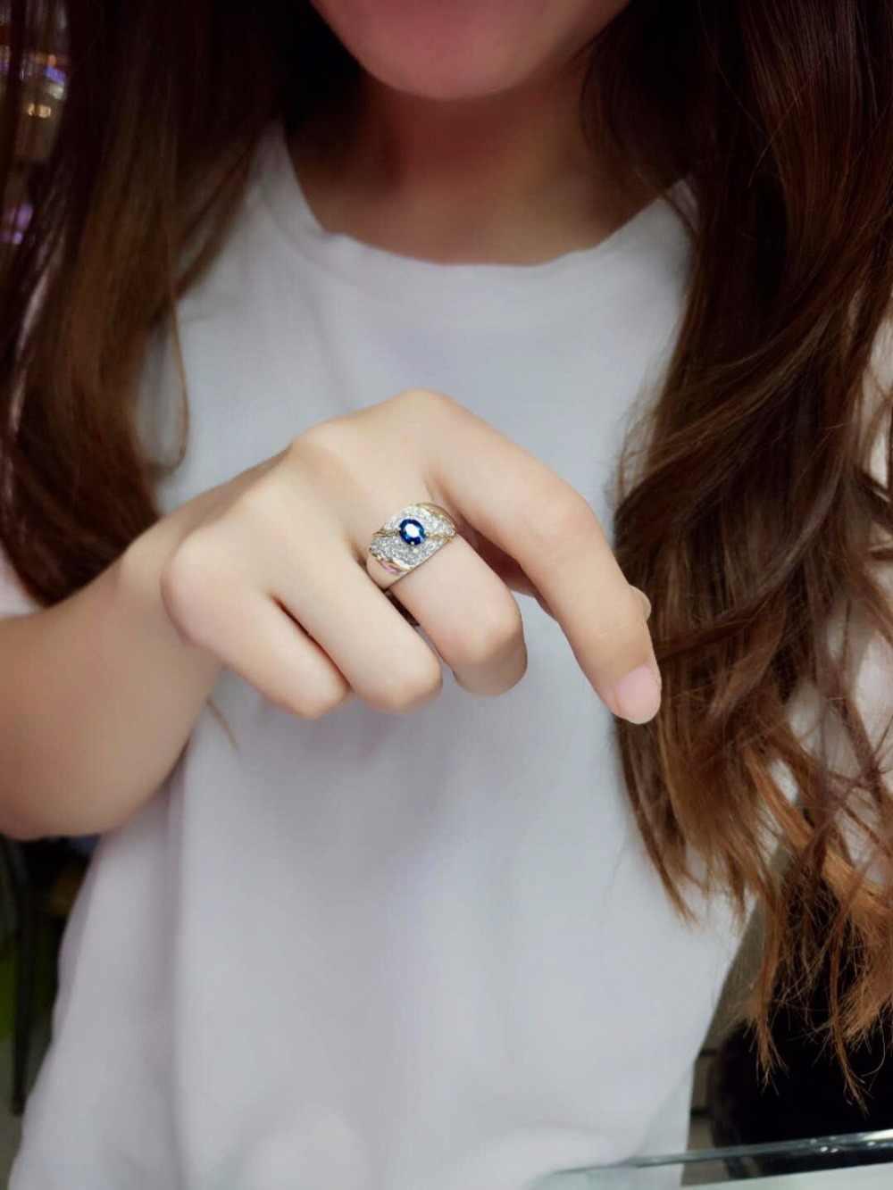 เครื่องประดับแพลทินัมจริง Pt900 ธรรมชาติ 100% 0.84ct สีฟ้าพลอยไพลินเพชรหินชายแหวนสำหรับแหวนผู้ชาย
