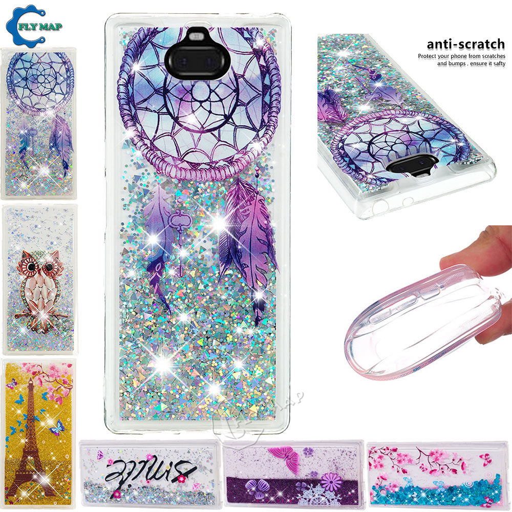 Quicksand <font><b>Case</b></font> for <font><b>Sony</b></font> Xperia 10 I4113 I4193 Sony10 Dynamic Liquid Glitter Stars Phone Cover for <font><b>Sony</b></font> <font><b>Xperia10</b></font> I3113 I3123 <font><b>Case</b></font> image