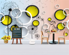 beibehang wall paper Modern fashion simple dandelion circle 3D stereo TV background bedroom papel de parede 3d wallpaper behang beibehang large fashion personality papel de parede 3d wallpaper watermark 3d for interior wall paper floor ceiling background