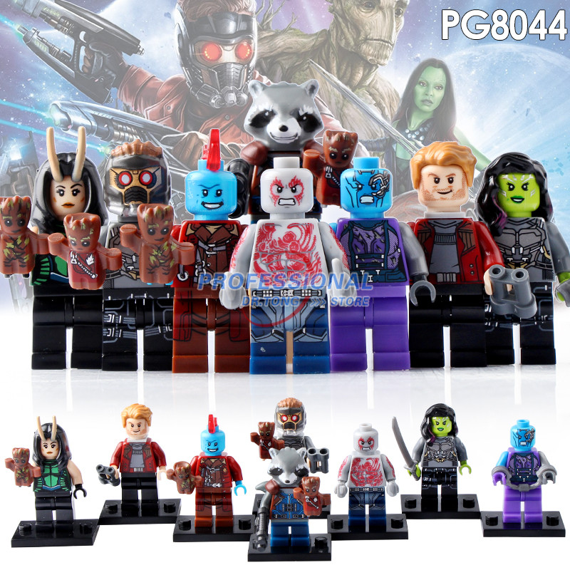 8pcs/lot PG8044 Guardians of the Galaxy Groot Raccoon Star-Lord Peter Quill Nebula Mantis Glenmora Hugo Drax Building Blocks Toy guardians of the galaxy groot tree man rocket racoon star lord peter quill drax the destroyer building blocks kids toys pg8044