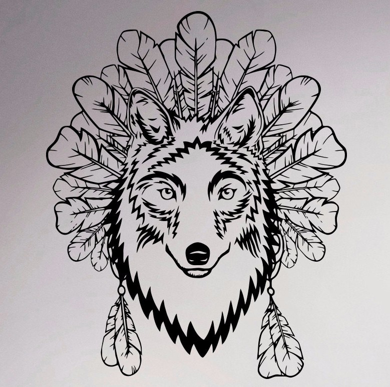 Wolf And Feathers Wall Vinyl Sticker Native American Decal Wildlife Home  Interior Bedroom Removable Decor Animal Graphics Mural Part 73