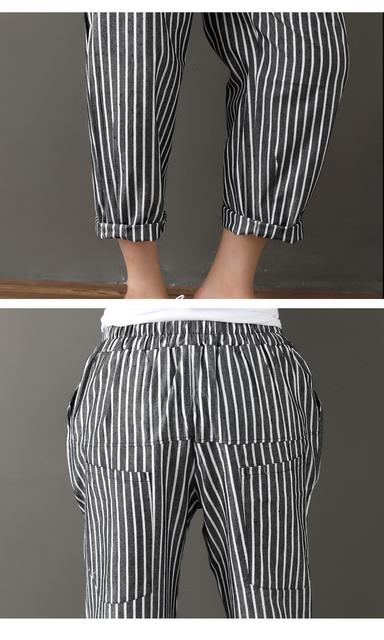 Women's Cotton Linen Striped Loose Pants